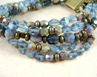 Blue Multi Strand Bracelet, Vintage Inspired Sapphire & Denim Bracelet, Multi-Strand Bracelet - Blue Bracelet, Box Clasp Closure