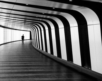 London Underground, London Photograph, King's Cross, Black and White photography, Kings Cross, wall art, Photo Print, Futuristic, Monochrome