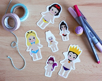 Set 6 stickers Sonny Angel x Disney : Alice + Blanche-Neige + Méchante Reine
