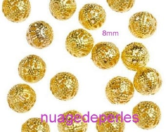 18 stardust spacers 8 mm gold filigree beads