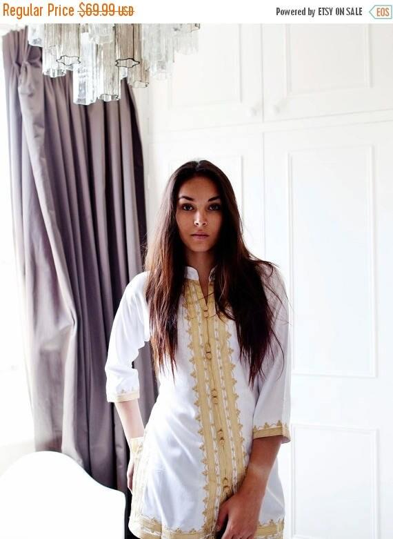 KAFTAN 20% SALE/ Summer boho| Handmade White & Gold Moroccan Tunic-perfect for birthday gifts, beach, resort wear, honeymoon gifts, bohemian