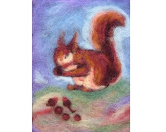 Squirrl, art for children, print of needle felted wool painting large size, Waldorf arts