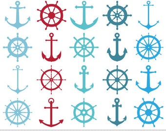 Anchor Clipart Ship Wheel Clipart Nautical Clipart Steampunk Scrapbooking Invitations Logo Silhouette Clipart Blue Turquoise