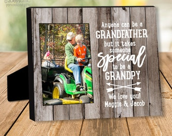 Grandpa father's day frame Personalized - Father's Day anyone can be a grandfather photo frame  - great gift for Grandpa or Dad  MDFF-001