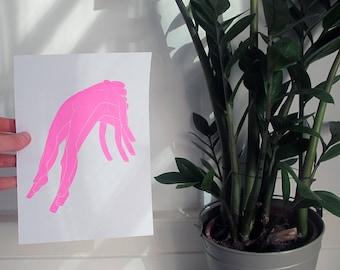 "Neon Pink Screenprint ""Reclaiming Women's Bodies"