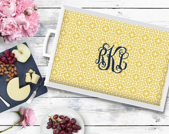 Monogrammed Tray - Wedding gift for Couple - Personalized Serving Tray - Choose your design