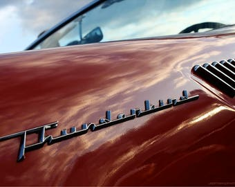 Cherry Red T-Bird Photo Art - Ford Thunderbird Classic Car Photo - Sunset Sky Reflection - Vintage Car Detail Photography by Liberty Images