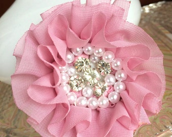 Pink flower,headband flower,baby headband flowers,hair clip flower,headband accessories,flower girl flowers,hair clip accessories,151