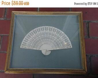 Flash 50% off sale Vintage Framed Chinese Womans Fan Great Details