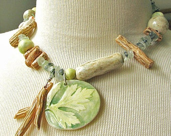 Woodland Walk Necklace Hand Sculpted Beads