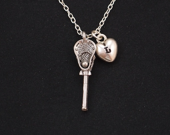 lacrosse necklace, sterling silver filled, initial necklace, silver lacrosse charm on silver chain, lacrosse stick charm, player gift, coach