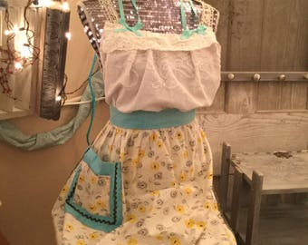 Apron Made From Vintage Apron Skirt & Vintage Linen