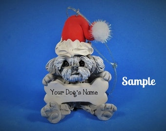 Grey Shih Tzu Santa Dog with Bone Christmas Holidays  Ornament Sally's Bits of Clay PERSONALIZED FREE with dog's name