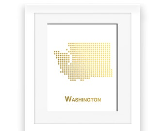 Gold Foil Washington Map, Washington Map, Washington dot map, Gold Foil Map, Washington wall decor, Washington art, gold foil print, gold de