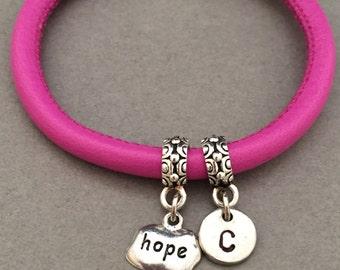 Hope leather bracelet, hope charm bracelet, leather bangle, personalized bracelet, initial bracelet, monogram