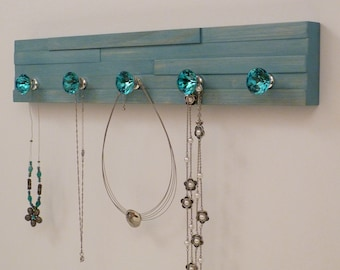20 inches/5 knobs Jewelry Organizer, Necklace Holder, Bracelet Holder, Turquoise
