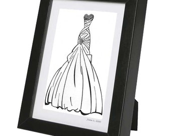 Bridal Shower Custom Bridal Gown Sketch - Gift Certificate