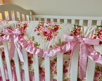 Rambling Roses and Baby Pink Crib Rail Cover, Rambling Roses Rail Guard, Shabby Rail Guard, Shabby Chic Baby Girl Bedding, Baby Pink Nursery