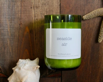 Wine candle // Wine bottle candle // Seaside Air // Ocean candle // Soy candle // Handmade candle