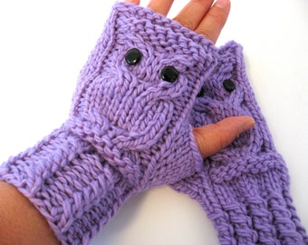 Owl Fingerless Gloves Mittens - Merino Wool Chunky - Purple / READY TO SHIP