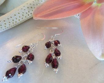 Garnet Cluster Earrings, January Birthstone Earrings, Sterling Silver Earrings, Dangle Earrings, Faceted Red Semi-precious Gemstone Earrings