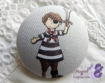 Fabric buttons,  pirate, 0.86 in / 22 mm