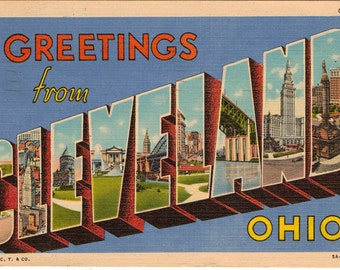 Linen Postcard, Greetings from Cleveland, Ohio, Large Letter,1951