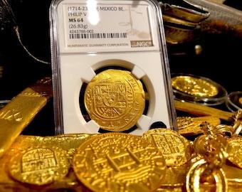 MEXICO 1714 8 ESCUDOS NGC 64 fleet shipwreck gold treasure pirate cob coin