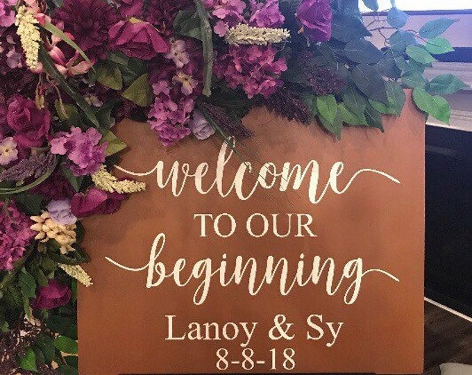 Rustic Wedding Decal-l Welcome to our Beginning- Personalized Vinyl Decal- Wedding Sign- DIY Lettering -Names and Date Custom Decal