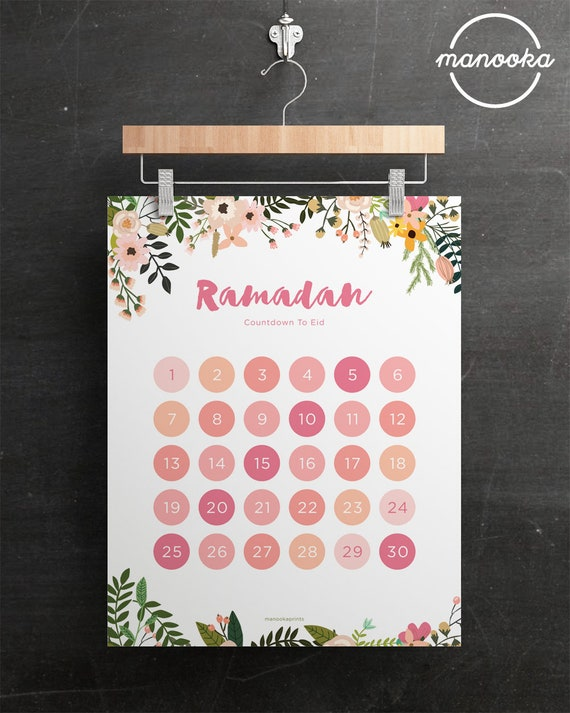 Diy Ramadan Calendar : Ramadan eid countdown calendar tracker floral diy poster