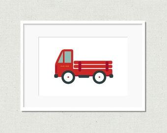 Modern truck print, colorful nursery art, modern nursery art, kids room decor, nursery decor, truck print, red truck, toy truck