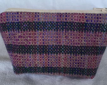 Medium zipped pouch with hand-dyed and handwoven front panel in alpaca and wool