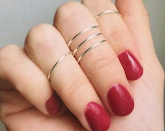 5 Knuckle Silver Rings, Knuckle rings, Midi rings, Silver knuckle rings, Knuckle ring set, Silver ring, Stacking rings, Adjustable ring