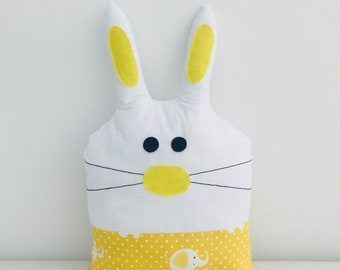 Rabbit  pillow,  soft yellow pillow cushion, baby shower, nursery decor, kids room, baby toys, boy girl toys