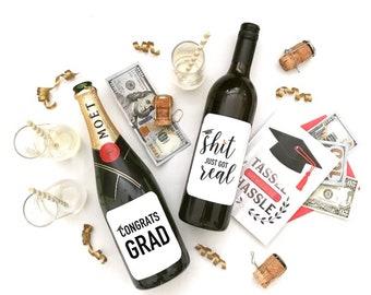 Graduation SH*T just got real 2PACK wine labels