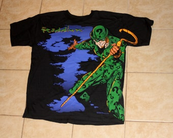The Riddler Batman Large Print DEADSTOCK New Black XL Tshirt Vintage 1995