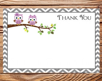 Purple Owls Thank You Card - INSTANT Download - 4x6, Owls, Purple Owls thank you, Gray, Chevron, As Is, Thank you, 1 PDF and 1 JPEG, 1606