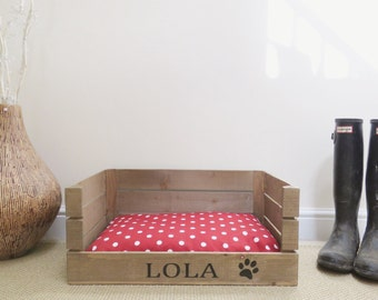 small dog furniture. Personalised Wooden Pet Bed Dog Cat Apple Crate Handmade Shabby Chic Small Bed, Furniture