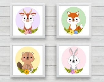 PRINTABLE digital illustrations - Woodland creatures - instant download, digital download, nursery wall art, printable nursery decor