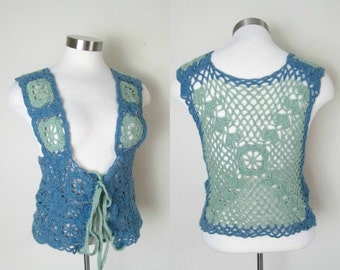 Vintage 1970s Hand Crocheted Vest /  Boho Hippie Granny Square Sweater
