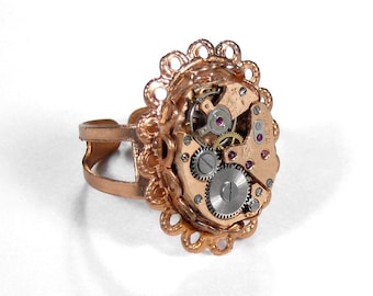 Steampunk Ring - Vintage OMEGA STYLE ROSE GOLD Ruby Jeweled Swiss Watch Movement Ring - Matching Scallop Setting - FULLY ADJUSTABLE - Offered by edmdesigns
