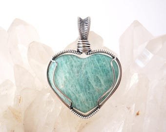 Amazonite Heart Pendant ~ Handcrafted with Recycled Sterling Silver ~ Shimmery Aqua Gemstone ~ Crystal Magick Talisman ~ Soothing Balancing