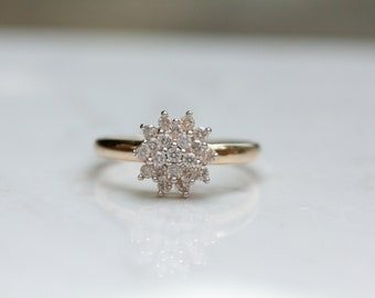 Vintage 14k Solid Yellow Gold Diamond Cluster Ring, Size 8 - Engagement Ring - .50 carat total weight