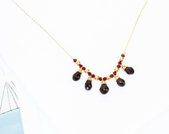 January birthstone necklace, Garnet necklace. gold necklace, Garnet drops and gold filled beads neckalce, gift for her.