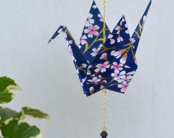 Origami Crane Hanging Ornament - navy blue Japanese paper with flowers, peace, crane, hand varnished, on gold string with Swarovski crystals