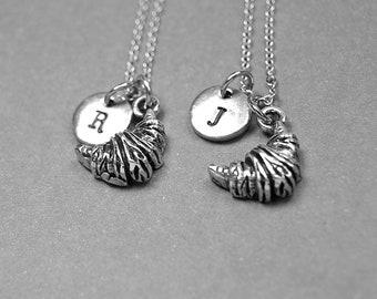 Best friend necklace, croissant necklace, food necklace, friendship necklace, french travel gift, personalized necklace, initial, monogram
