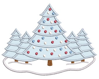 Christmas Tree Applique Machine Embroidery Design, Christmas Decoration, Xmas Tree Embroidery Design, 2 Sizes, Instant Download, No:SA502-12