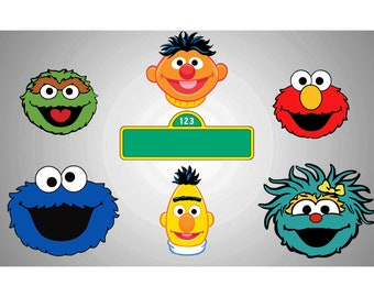 Sesame Street (Heads Only) Decals - Vinyl Decals - SVG file - Sesame street Clipart - Printable - Scalable - Vectorial