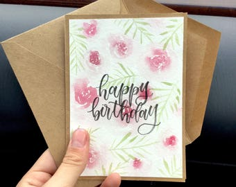 Floral Happy Birthday Kraft Card