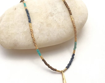 Gold dangle charm with blue, bronze and turquoise delica beads